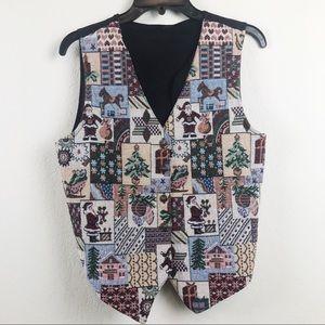 Jackets & Blazers - Vintage Ugly Cropped Christmas Vest